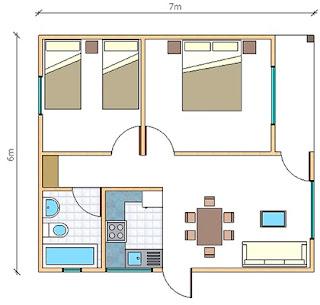 plano Casa Prefabricada Paine 42 metros cuadrados