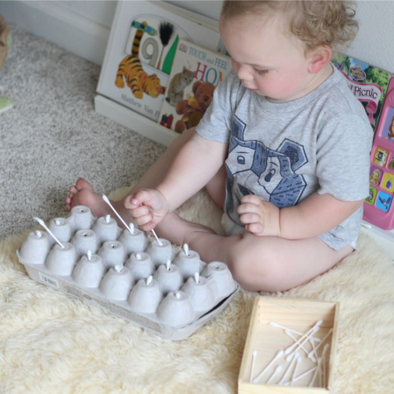 activities for babies - q tip fine motor activity