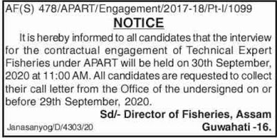 Directorate of Fisheries, Assam Interview Notice 2020: