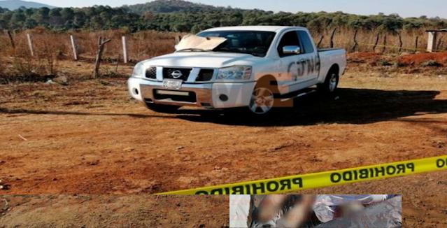 En su propia camioneta con la siglas de El CJNG y bien desnudos abandonan 2 Sicarios en Michoacán