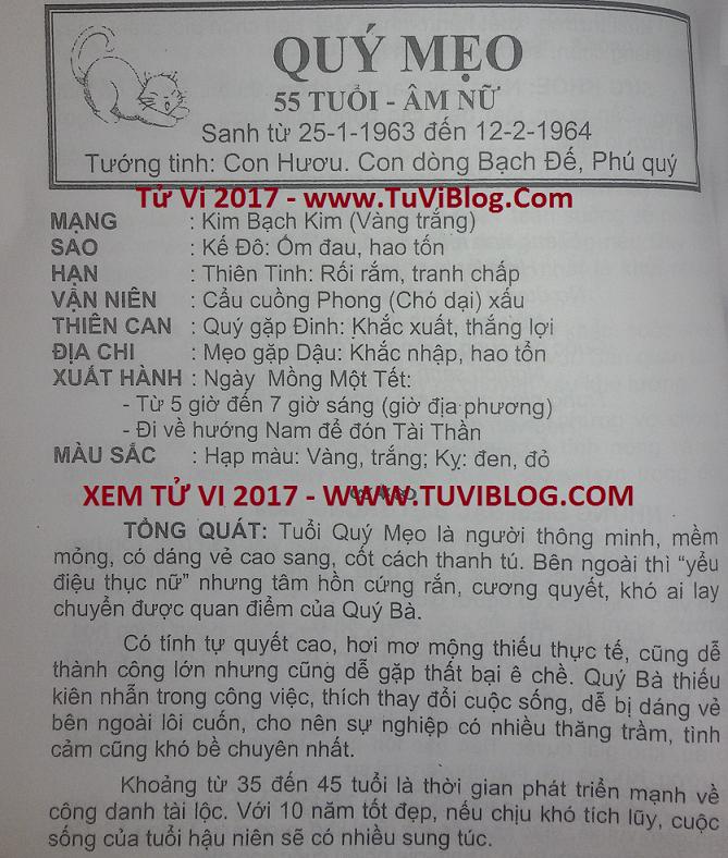 Tu vi 2017 Quy Mao 1963 nu mang