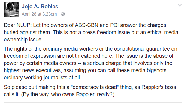 READ: A journalist's letter to NUJP for meddling with ABS-CBN, Inquirer issue vs Duterte
