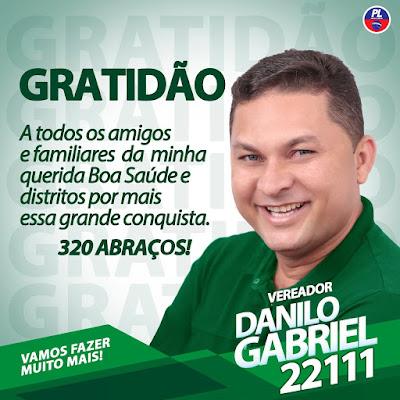 Os agradecimentos do Vereador Danilo Gabriel