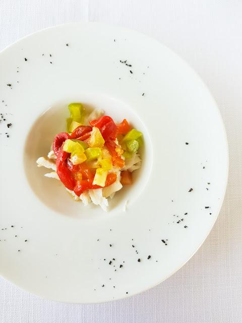 Baccalà con peperoni e cenere di olive nere-Ristorante del Trabocco Punta Rocciosa a Fossacesia