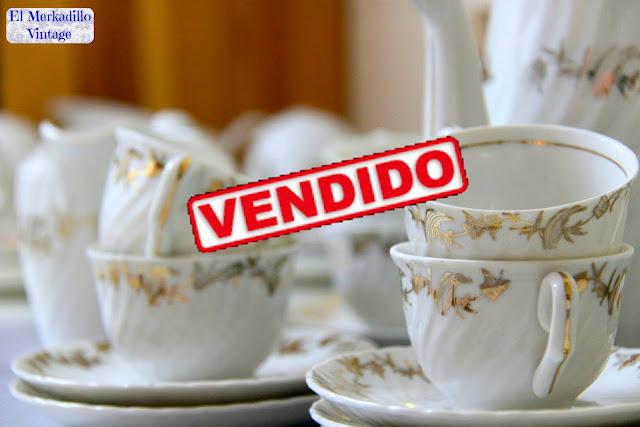"""4 Tazas de Café Vintage Porcelana """"Royal Gijón"""""""