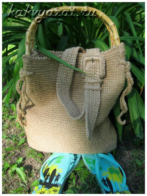 Пляжная сумка и ремень из джутового шнура.