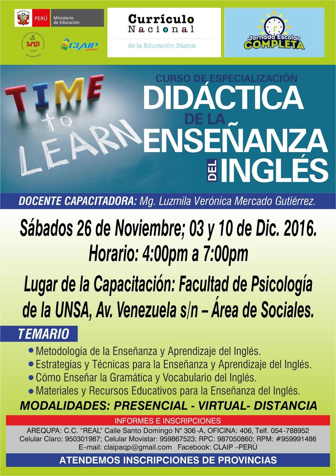 Curso de capacitaci n did ctica de la ense anza del for Curso concurso docente 2016