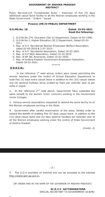 GO MS 18 Additional 5 Casual leaves to woman employees working in the State Govt of AP.