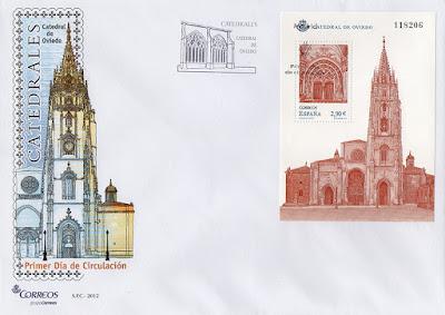 sobre, catedral, Oviedo, matasellos, hoja bloque