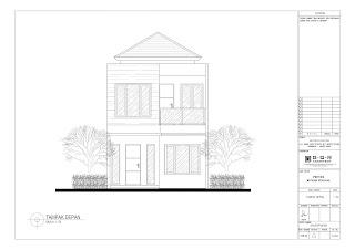 tampak depan 2d gambar rumah dua lantai dengan ukuran 6x14 (6)
