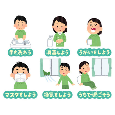 感染症予防のイラスト文字(まとめ)