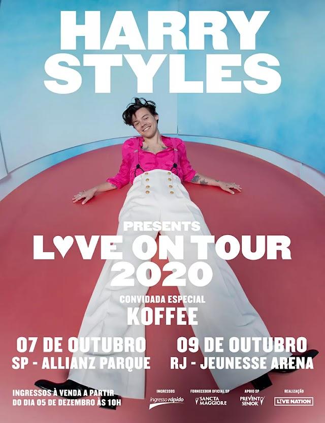 Harry Styles vem ao Brasil em 2020 para duas apresentações do Love On Tour