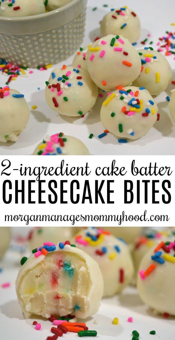 No Bake 2 Ingredient Cake Batter Cheesecake Bites