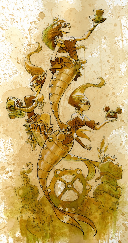 Brian Kesinger Lost and Found Mermaids Mechanical Kingdom Walt Disney World WDW Disneyland Steampunk art artists print