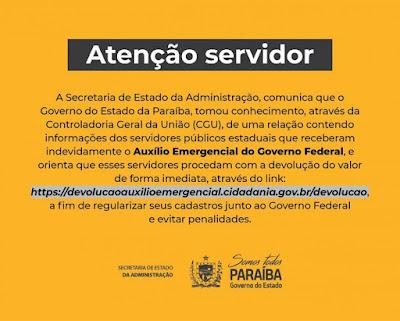Servidores são notificados pelo Governo da PB para devolver auxílio emergencial recebido irregularmente