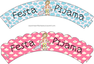 Pyjama Party  Free Printable Cupcake Wrappers.