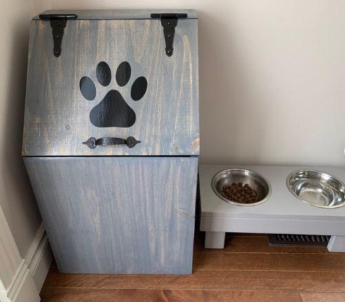 rustic pet food storage bin wooden home decor