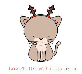Easy drawing tutorial Christmas kitten step by step
