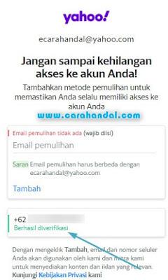 Cara Menambahkan No Telepon Pemulihan Email Yahoo