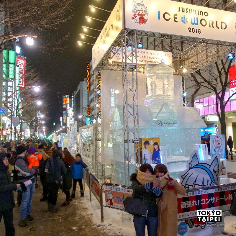 【薄野ICE WORLD】夜晚比白天更美麗 札幌街頭的60座冰雕