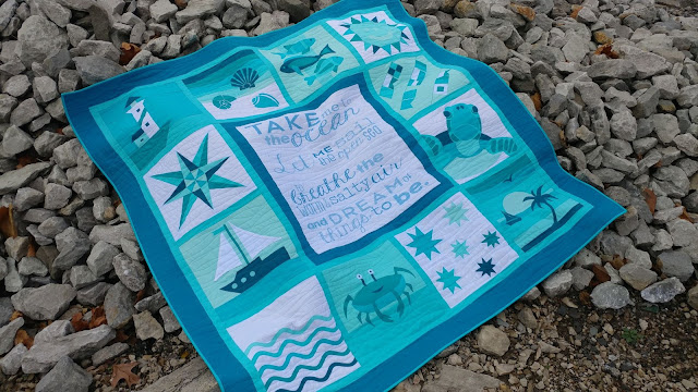 Ocean themed sampler quilt from QAL By the Sea quilt along