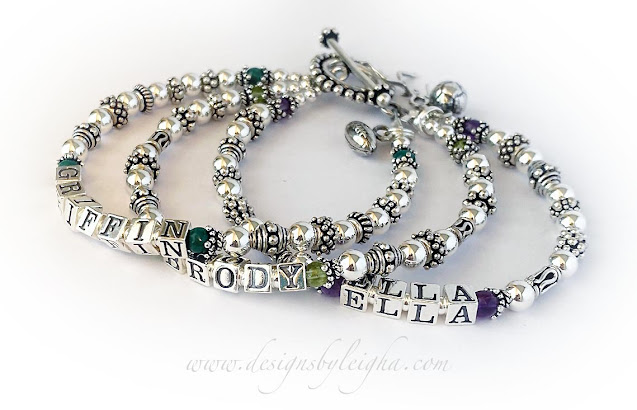 Griffin, Brody, Ella, May, Emerald, August Birthstone, Peridot, February Birthstone, Amethyst, Football Charm, Soccer Charm, Girl Running Charm, Beaded Toggle Clasp