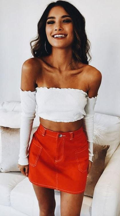 trendy summer outfit / white off shoulder crop top + red mini skirt