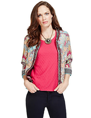 Marks and Spencer Per Una Open Front Floral Jacket
