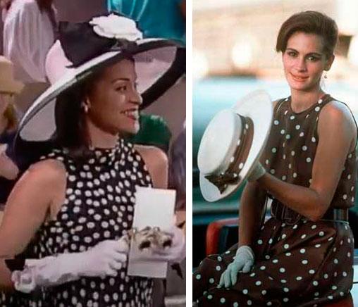 Hilary com vestido poa ao lado vestido do filme uma linda mulher parecido