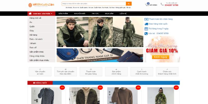Mẫu website bán hàng thời trang nam free