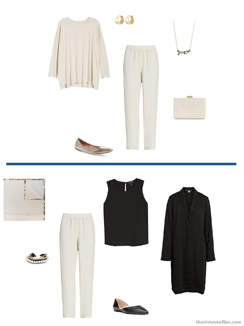 2 ways to wear ivory silk pants from a Tote Bag Travel capsule wardrobe