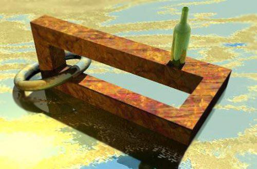 İçinden halka geçirilmiş ve üzerine yeşil bir şişe konulmuş göl üzerindeki paslı demirden dikdörtgen paradoks
