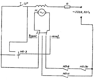 Электрическая схема прибора для определения прочности фарфоровых образцов при изгибе