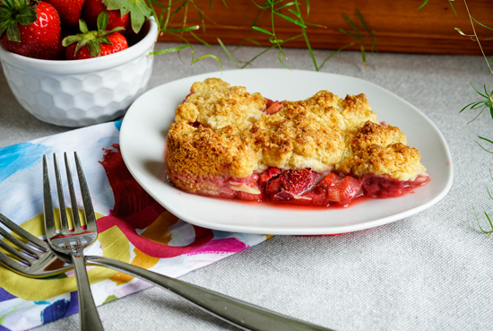 Cobbler Dessert with Rhubarb and Strawberry