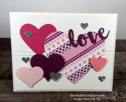 stampin up, valentine card idea, sweet & sassy framelits dies, sunshine wishes thinlits dies, hearts, Karen Hallam, stampinup