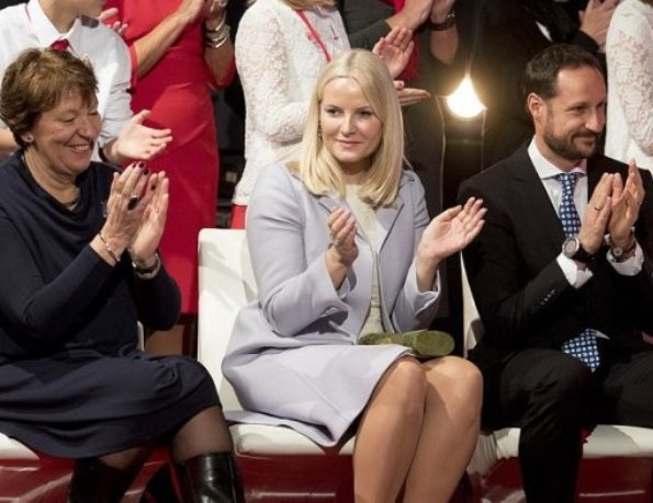 Crown Prince Haakon and Crown Princess Mette-Marit visited the Save the Children Peace Prize Party at the Nobel Peace Centre