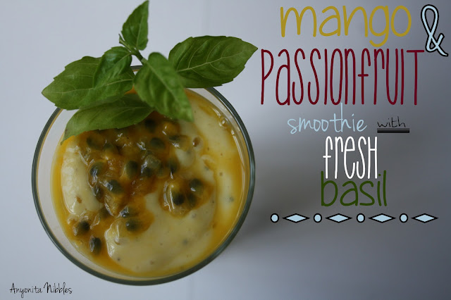 Mango and Passionfruit Smoothie with Fresh Basil