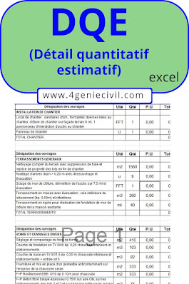 Modèle de DQE en format excel