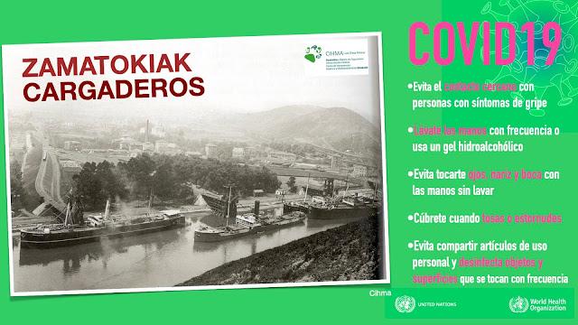 Cartel de la visita guiada a los cargaderos de mineral de Barakaldo