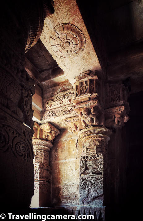 Sunlight plays various games with these beautifully carved walls of Modhera Sun Temple. This light & shadow pattern looks different at various times of the day & influenced a lot by sun, it's direction and power of the light on a particular day.