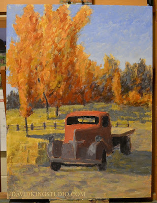 art painting truck Dodge autumn fall foliage