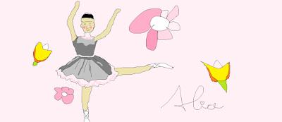 bailarina, desenho, rosa