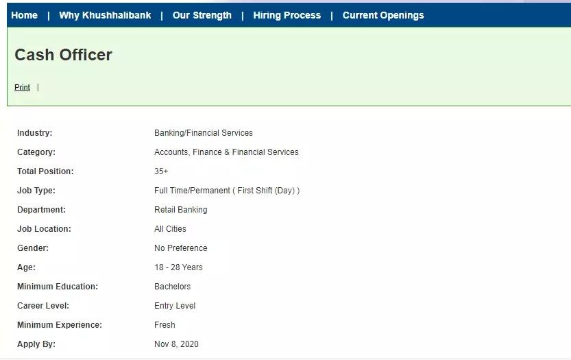 Khushhali Bank Jobs 2020 for Cash Officer 35+ Seats