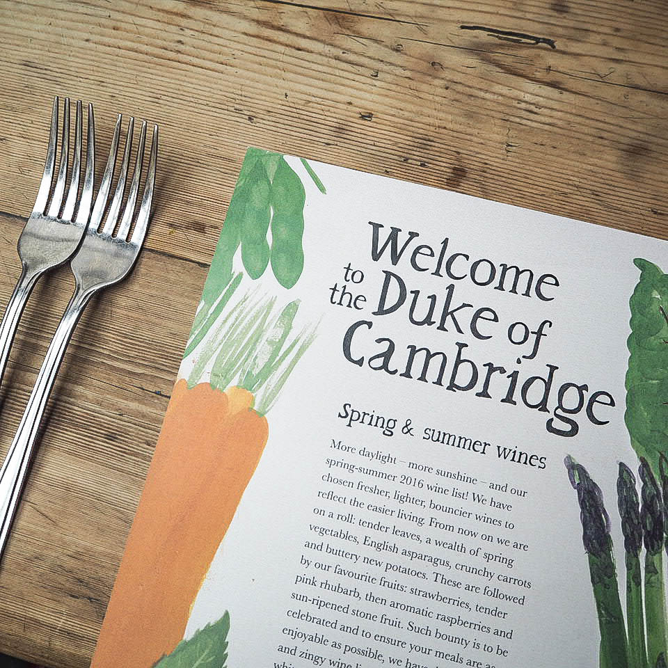 Duke of Cambridge pub menu in Islington