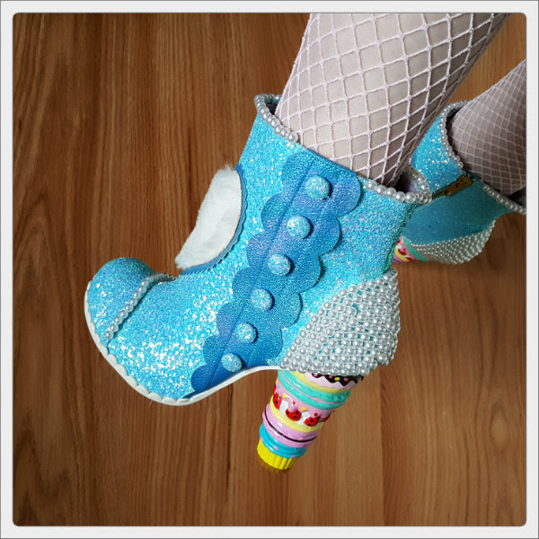 wearing Irregular Choice Bee Delicious close up with pink fishnet tights