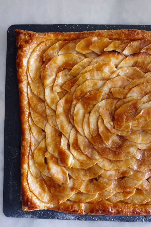 close up view of finished apple mosaic tart