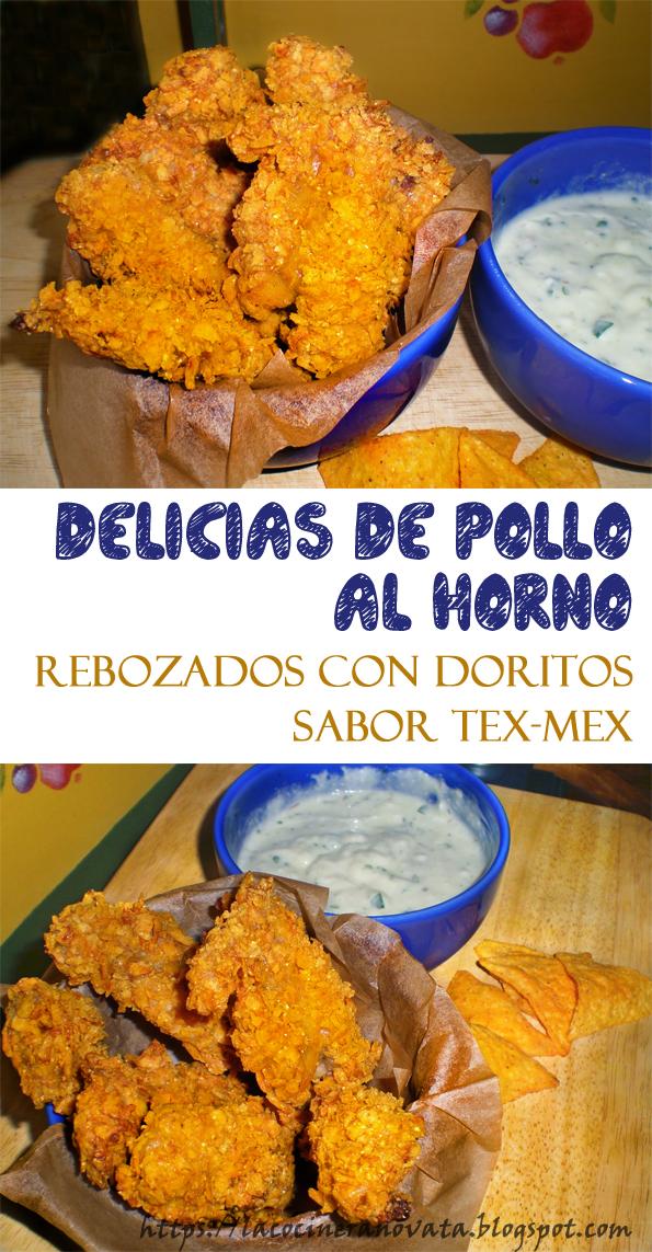 La Cocinera novata_Delicias de pollo al horno rebozados con doritos sabor tex-mex aves entrantes receta cocina gastronomia bajo en calorias light saludable sano