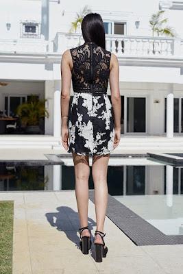 Moda Vestido Curto Renda Bordada