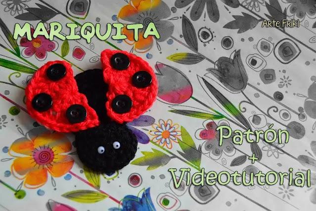 Hermoso Aplique de Mariquita Tejido a Crochet