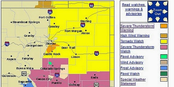 Colorado severe weather warnings map from NWS